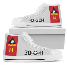 "Load image into Gallery viewer, B-17G ""Aluminum Overcast"" Inspired Men's High Top Canvas Shoes - I Love a Hangar"