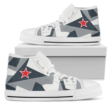 "Load image into Gallery viewer, Su-35S Flanker ""Arctic Splinter"" Inspired Men's High Top Canvas Shoes - I Love a Hangar"