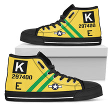 "Load image into Gallery viewer, B-17G ""Fuddy Duddy"" Inspired Women's High Top Canvas Shoes - I Love a Hangar"