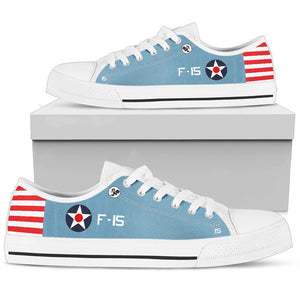 "F4F Wildcat of ""Butch"" O'Hare Inspired Men's Low Top Canvas Shoes - I Love a Hangar"