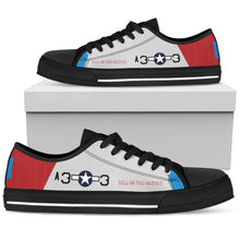 "Load image into Gallery viewer, P-51D ""Tall In The Saddle"" of Lt Col George Hardy Men's Low Top Canvas Shoes - I Love a Hangar"