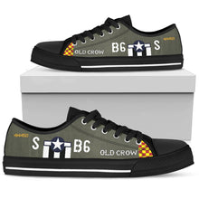"Load image into Gallery viewer, P-51 ""Old Crow"" Inspired Women's Low Top Canvas Shoes - I Love a Hangar"