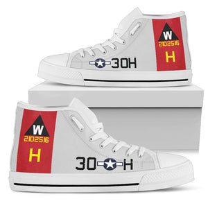 "B-17G ""Aluminum Overcast"" Inspired Women's High Top Canvas Shoes - I Love a Hangar"