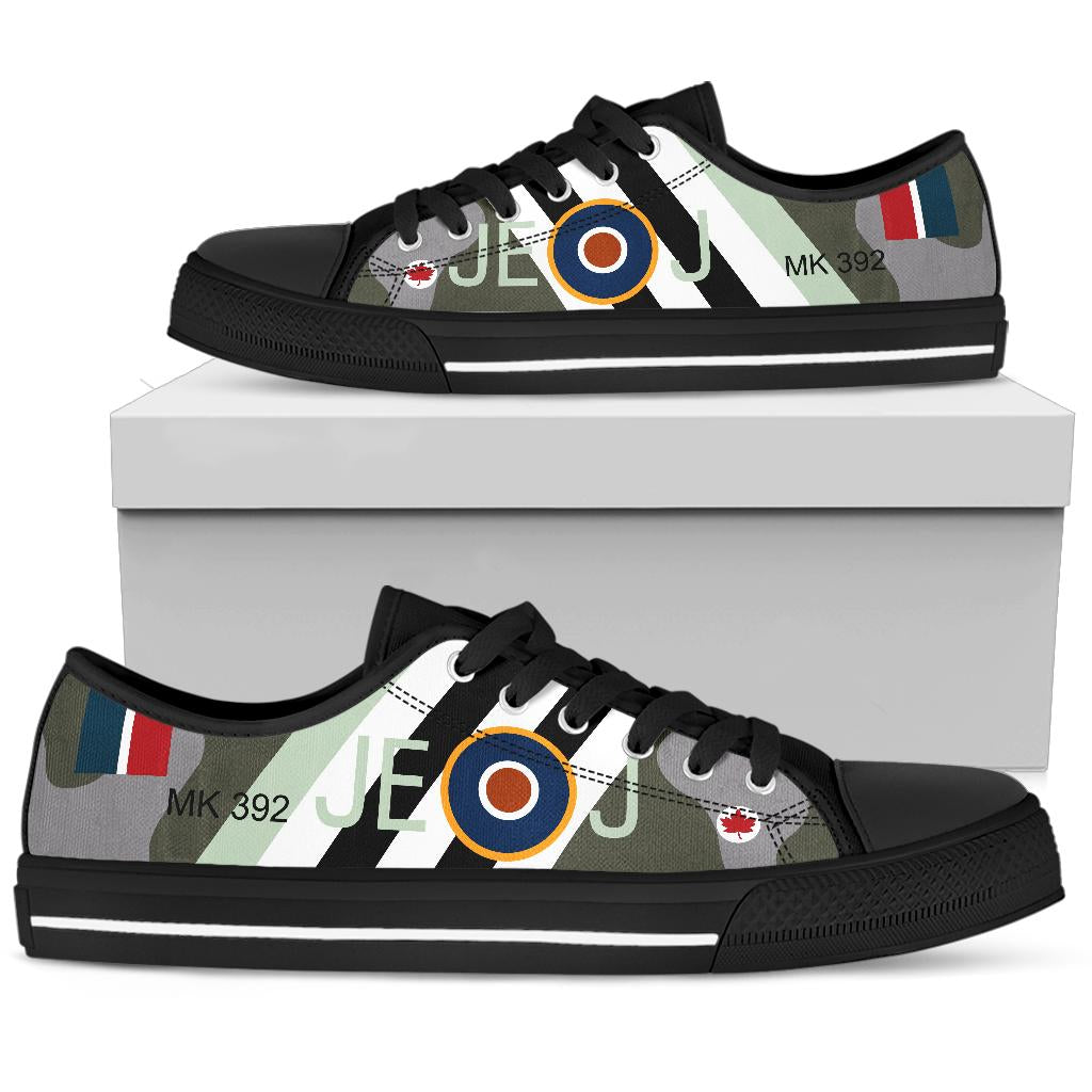 RAF Spitfire of Johnnie Johnson Inspired Women's Low Top Canvas Shoes - I Love a Hangar