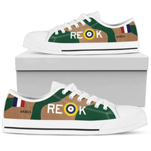 "Load image into Gallery viewer, Curtiss P-40 Warhawk ""AK803"" Men's Low Top Canvas Shoes (WW2 Paint Scheme) - I Love a Hangar"