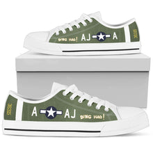 "Load image into Gallery viewer, P-51B ""Ding Hao!"" Inspired Women's Low Top Canvas Shoes - I Love a Hangar"