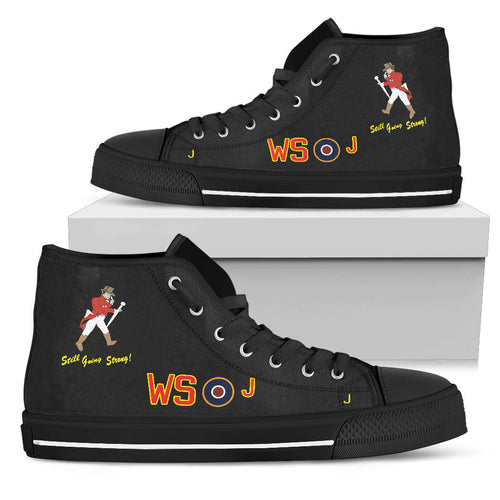 Avro Lancaster WS-J Inspired Women's High Top Canvas Shoes (Black) - I Love a Hangar