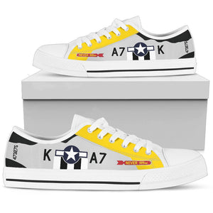 "P-51D ""Never Miss"" Inspired Women's Low Top Canvas Shoes - I Love a Hangar"
