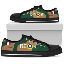 "Load image into Gallery viewer, Curtiss P-40 Warhawk ""AK803"" Women's Low Top Canvas Shoes (WW2 Paint Scheme) - I Love a Hangar"