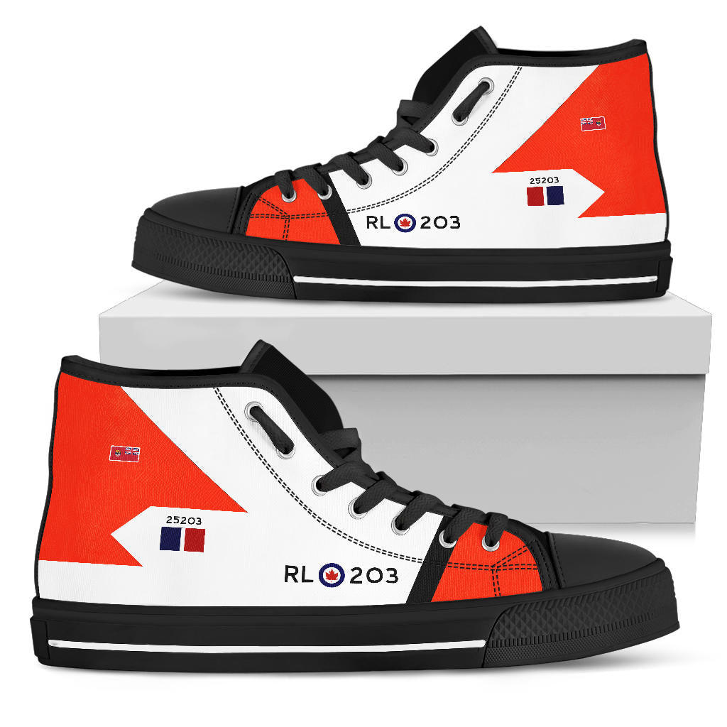 RCAF Avro Canada CF-105 Arrow #203 Inspired Women's High Top Canvas Shoes - I Love a Hangar