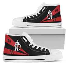 "Load image into Gallery viewer, VFA-154 ""Black Knights"" Inspired Men's High Top Canvas Shoes - I Love a Hangar"