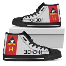 "Load image into Gallery viewer, B-17G ""Aluminum Overcast"" Inspired Women's High Top Canvas Shoes - I Love a Hangar"