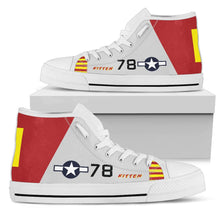 "Load image into Gallery viewer, P-51B ""Kitten"" of Brig. Gen. Charles McGee Men's High Top Canvas Shoes - I Love a Hangar"