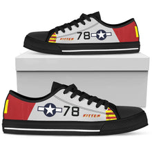 "Load image into Gallery viewer, P-51B ""Kitten"" of Brig. Gen. Charles McGee Women's Low Top Canvas Shoes - I Love a Hangar"
