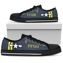Load image into Gallery viewer, F4U Corsair of LtCol Donald K Yost Inspired Women's Low Top Canvas Shoes - I Love a Hangar
