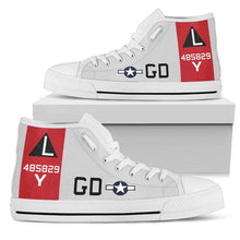 "Load image into Gallery viewer, B-17G ""Yankee Lady"" Inspired Women's High Top Canvas Shoes - I Love a Hangar"