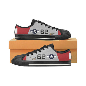 "P-51D ""Bunny"" of Lt.Col. Robert Friend Inspired Kid's Low Top Canvas Shoes - I Love a Hangar"