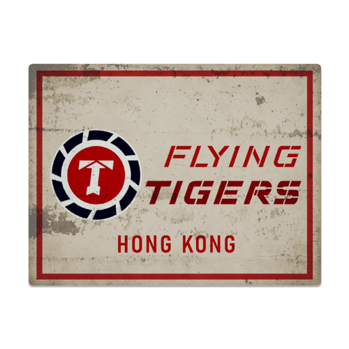 Flying Tigers - Hong Kong Metal Sign 16in x 12in (Distressed) - I Love a Hangar