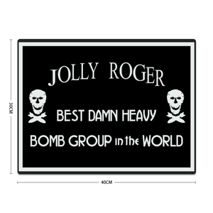 "90th Bombardment Group ""Jolly Roger"" Metal Sign 16in x 12in - I Love a Hangar"