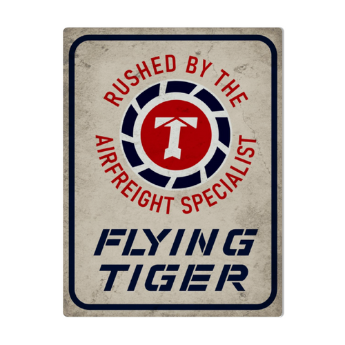 Flying Tigers- Air Freight Specialists Metal Sign 16in x 12in (Distressed) - I Love a Hangar
