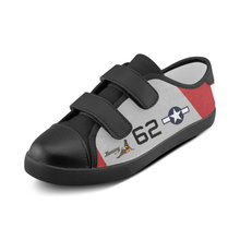 "Load image into Gallery viewer, P-51D ""Bunny"" of Lt.Col. Robert Friend Inspired Kid's Velcro Canvas Shoes - I Love a Hangar"