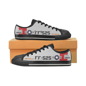 "P-51 ""Val-Halla"" Inspired Kid's Low Top Canvas Shoes - I Love a Hangar"
