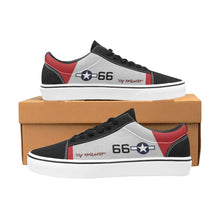 "Load image into Gallery viewer, P-51C ""By ReQuest"" of Gen Benjamin Davis Jr Women's Lace-Up Canvas Shoes - I Love a Hangar"