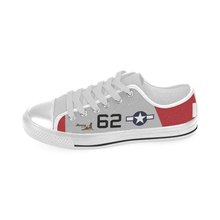 "Load image into Gallery viewer, P-51D ""Bunny"" of Lt.Col. Robert Friend Inspired Kid's Low Top Canvas Shoes - I Love a Hangar"