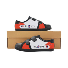 Load image into Gallery viewer, RCAF Avro Canada CF-105 Arrow Inspired Kid's Velcro Canvas Shoes - I Love a Hangar