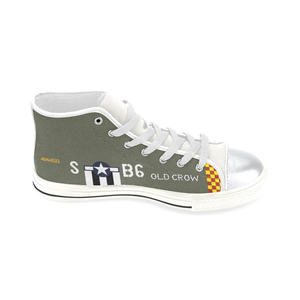 "P-51 ""Old Crow"" Inspired Kid's High Top Canvas Shoes - I Love a Hangar"