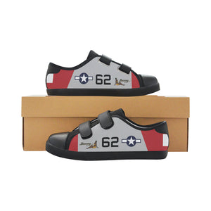 "P-51D ""Bunny"" of Lt.Col. Robert Friend Inspired Kid's Velcro Canvas Shoes - I Love a Hangar"