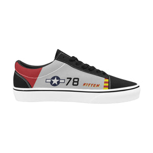 "P-51B ""Kitten"" of Brig. Gen. Charles McGee Women's Lace-Up Canvas Shoes - I Love a Hangar"