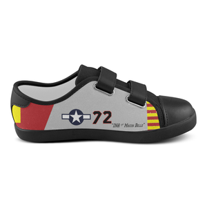 "P-51C ""Ina The Macon Belle"" of Lt.Col. Lee Archer Jr Kid's Velcro Canvas Shoes - I Love a Hangar"