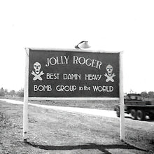 "Load image into Gallery viewer, 90th Bombardment Group ""Jolly Roger"" Metal Sign 16in x 12in - I Love a Hangar"