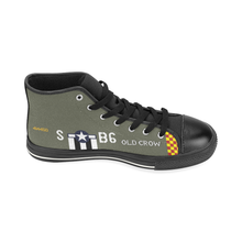 "Load image into Gallery viewer, P-51 ""Old Crow"" Inspired Kid's High Top Canvas Shoes - I Love a Hangar"