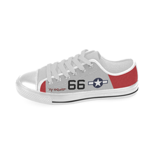 "Load image into Gallery viewer, P-51C ""By ReQuest"" of Gen Benjamin Davis Jr Inspired Kid's Low Top Canvas Shoes - I Love a Hangar"