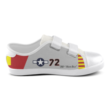 "Load image into Gallery viewer, P-51C ""Ina The Macon Belle"" of Lt.Col. Lee Archer Jr Kid's Velcro Canvas Shoes - I Love a Hangar"