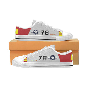 "P-51B ""Kitten"" of Brig. Gen. Charles McGee Inspired Kid's Low Top Canvas Shoes - I Love a Hangar"