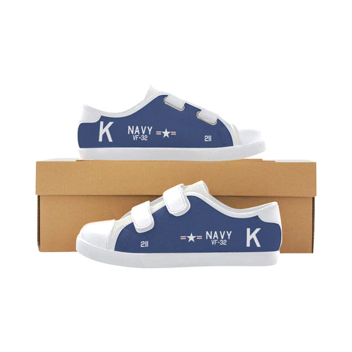 F4U-7 Corsair of Jesse Brown Inspired Kid's Low Top Canvas Shoes - I Love a Hangar