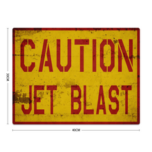 "Load image into Gallery viewer, ""Caution Jet Blast"" Metal Sign 16inx12in - I Love a Hangar"