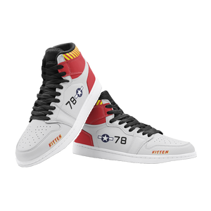 "P-51B ""Kitten"" Inspired Men's High Top Sneakers - I Love a Hangar"
