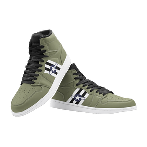 C-47 with Invasion Stripes Inspired Men's High Top Sneakers - I Love a Hangar