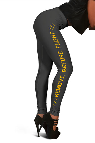 Remove Before Flight Leggings - Dark Grey & Orange - I Love a Hangar