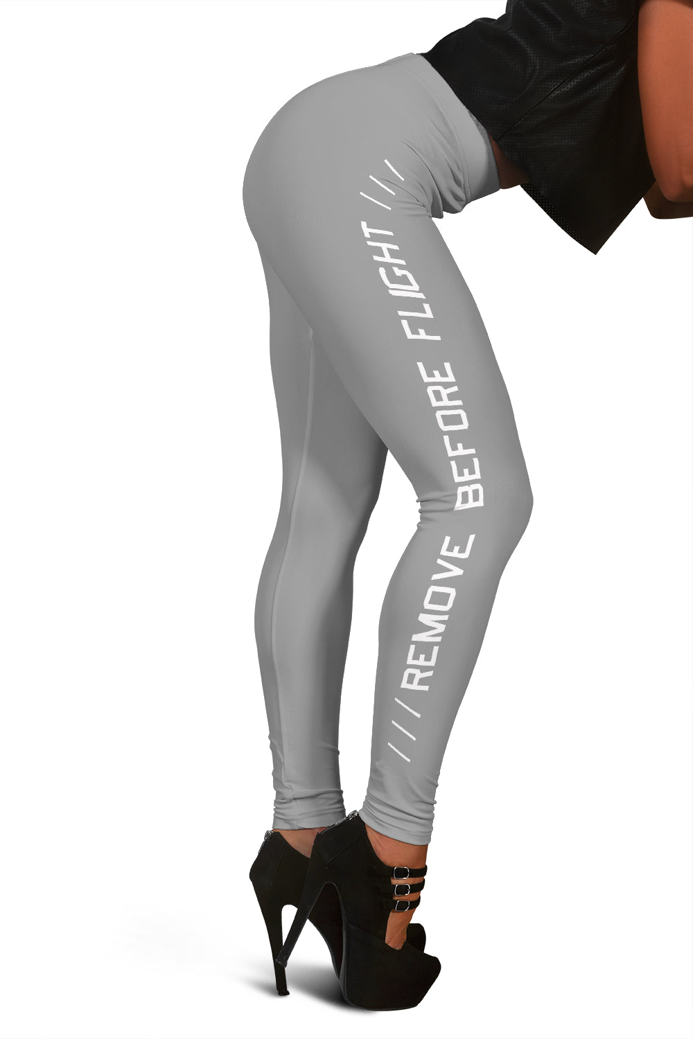Remove Before Flight Leggings - Light Grey - I Love a Hangar