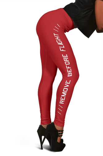 Remove Before Flight Leggings - Red - I Love a Hangar