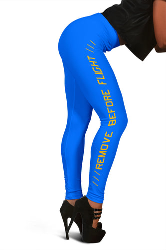 Remove Before Flight Leggings - Neon Blue - I Love a Hangar