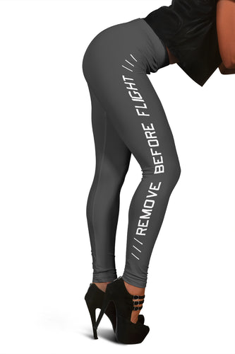 Remove Before Flight Leggings - Dark Grey - I Love a Hangar