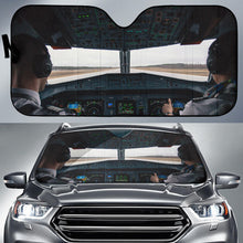 "Load image into Gallery viewer, ""The pilots view"" Auto Sun Shade - I Love a Hangar"