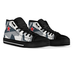 "Su-35S Flanker ""Arctic Splinter"" Inspired Women's High Top Canvas Shoes - I Love a Hangar"