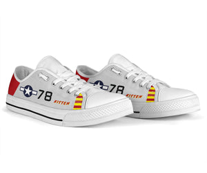 "P-51B ""Kitten"" of Brig. Gen. Charles McGee Men's Low Top Canvas Shoes - I Love a Hangar"